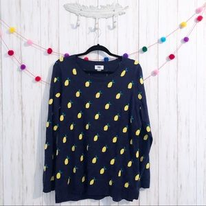 Old Navy lemon print pullover sweater